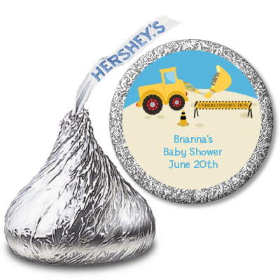 Construction Truck - Hershey Kiss Baby Shower Sticker Labels