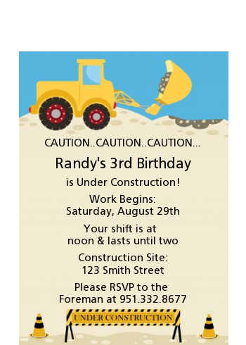 Construction Truck - Baby Shower Petite Invitations