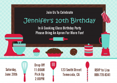 Cooking class birthday party invitations candles and favors cooking class birthday party invitations filmwisefo