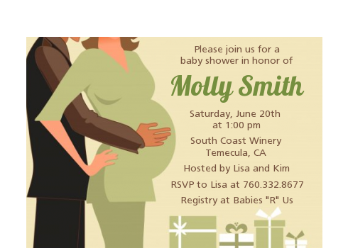 Couple Expecting - Baby Shower Petite Invitations Blue