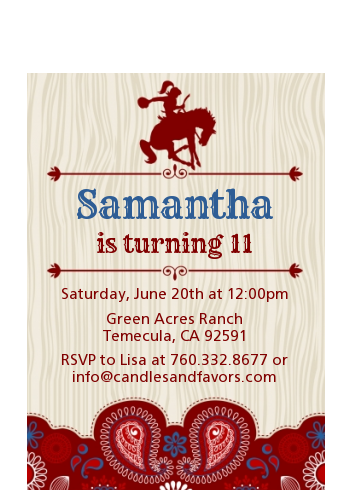 Cowgirl Rider - Birthday Party Petite Invitations