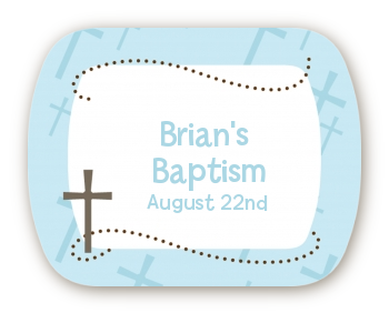 Cross Blue - Personalized Baptism / Christening Rounded Corner Stickers