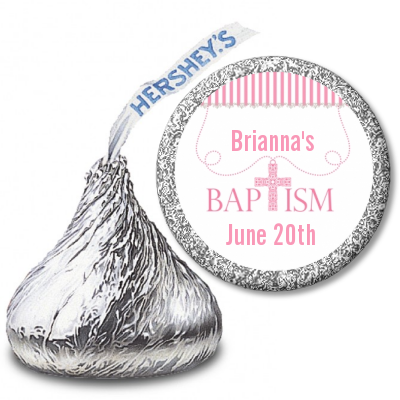 Cross Pink Necklace - Hershey Kiss Baptism / Christening Sticker Labels Option 1