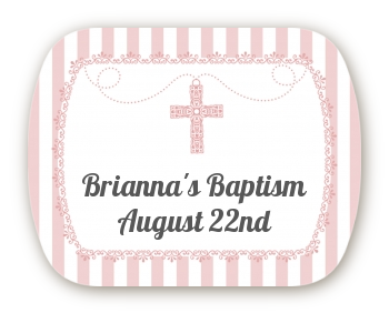 Cross Pink Necklace - Personalized Baptism / Christening Rounded Corner Stickers