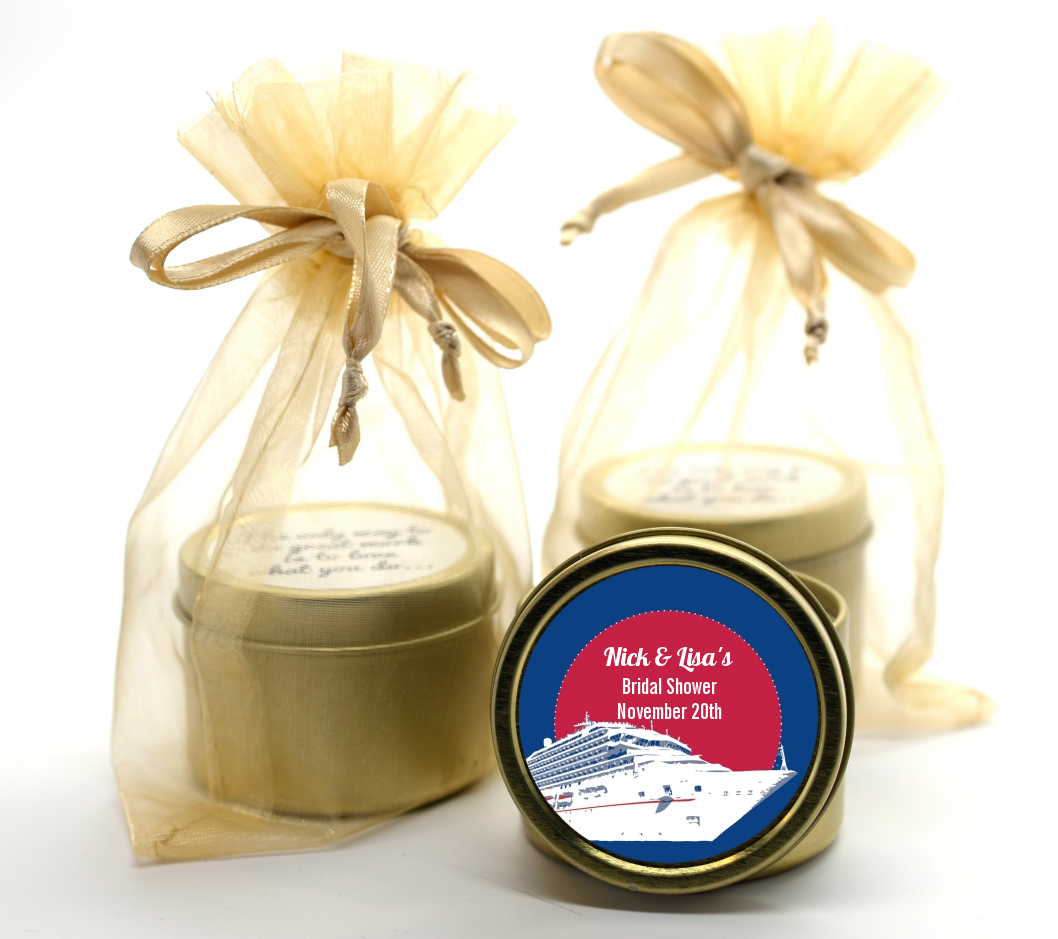 Cruise Ship Gold Tin Candle Favors Candles Favors