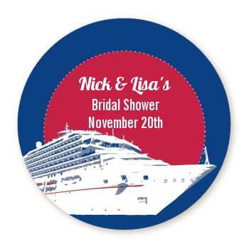 Cruise Ship - Round Personalized Bridal Shower Sticker Labels