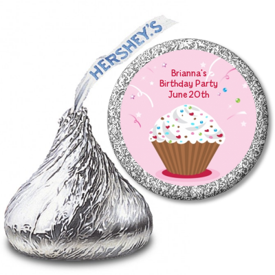 Cupcake Girl - Hershey Kiss Birthday Party Sticker Labels