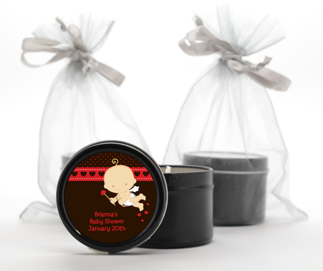 Cupid Baby Valentine's Day - Baby Shower Black Candle Tin Favors Caucasian