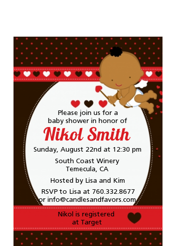 Cupid Baby Valentine's Day - Baby Shower Petite Invitations African American Black Backgroun
