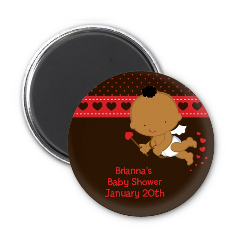 Cupid Baby Valentine's Day - Personalized Baby Shower Magnet Favors Caucasian