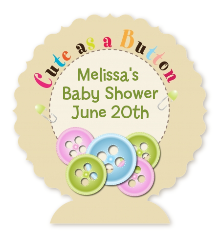 Cute As A Button   Personalized Baby Shower Centerpiece Stand
