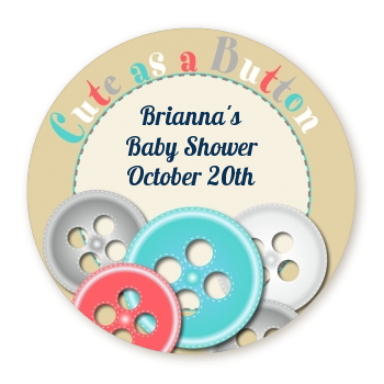 Cute As a Button - Round Personalized Baby Shower Sticker Labels Blue and Pink