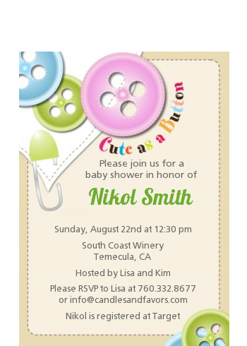 Cute As a Button - Baby Shower Petite Invitations