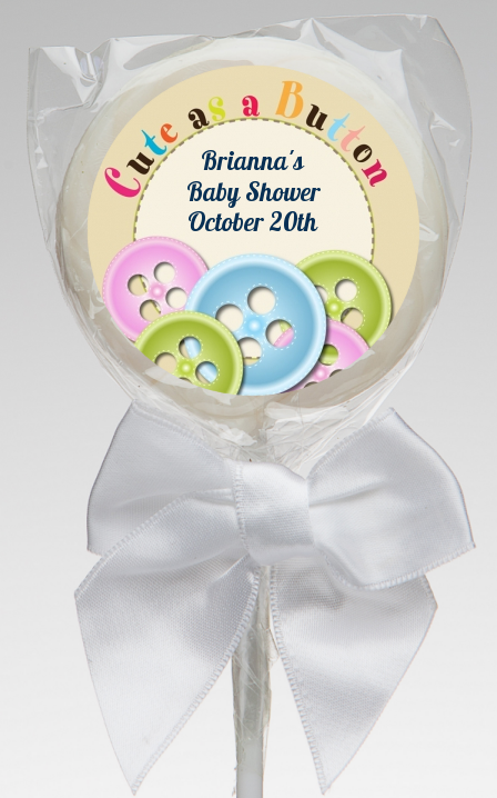 Cute As A Button   Personalized Baby Shower Lollipop Favors