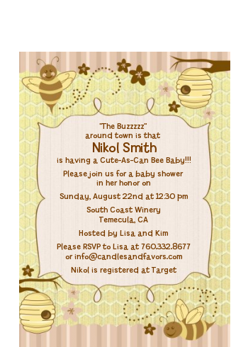 Cute As Can Bee - Baby Shower Petite Invitations
