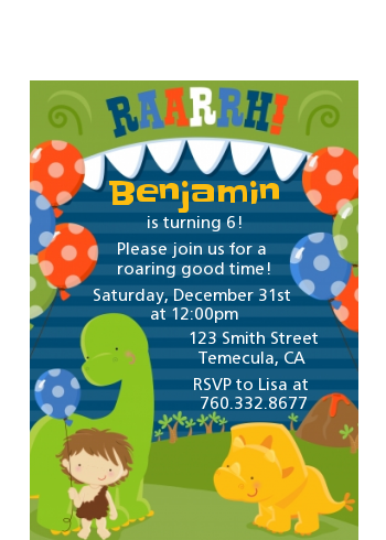 Dinosaur and Caveman - Birthday Party Petite Invitations