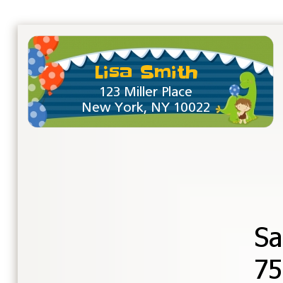 dinosaur and caveman birthday party return address labels birthday