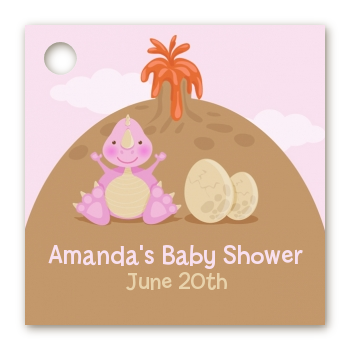 Dinosaur Baby Girl - Personalized Baby Shower Card Stock Favor Tags