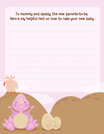 Dinosaur Baby Girl - Baby Shower Notes of Advice