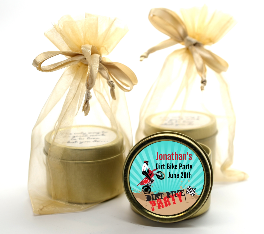 Dirt Bike Gold Tin Candle Favors | Candles & Favors
