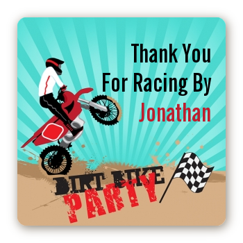 Dirt Bike - Square Personalized Birthday Party Sticker Labels