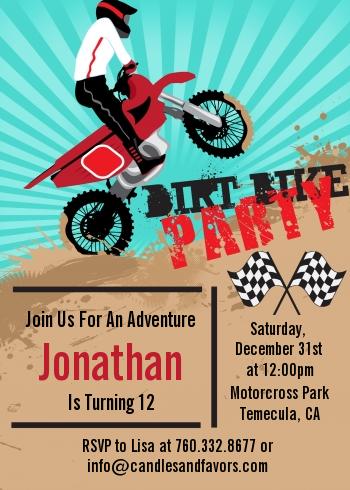 Dirt bike birthday party invitations candles and favors dirt bike birthday party invitations dirt bike filmwisefo