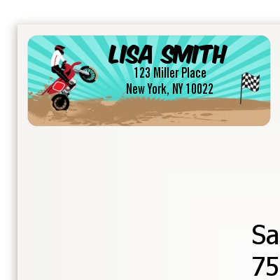 Dirt Bike - Birthday Party Return Address Labels