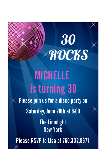 Disco Ball - Birthday Party Petite Invitations
