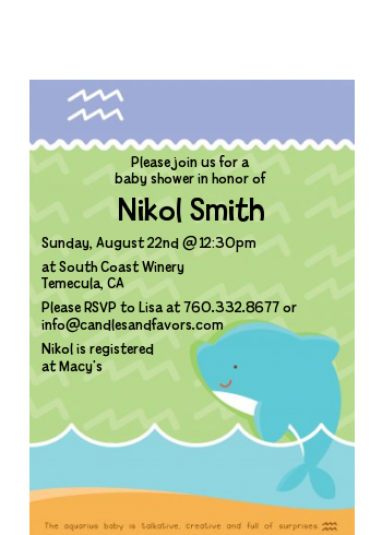 Dolphin | Aquarius Horoscope - Baby Shower Petite Invitations