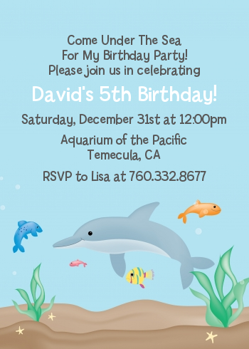 Dolphin - Birthday Party Invitations