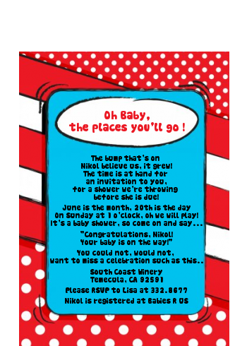 Dr. Seuss Inspired - Baby Shower Petite Invitations