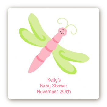 Dragonfly - Square Personalized Baby Shower Sticker Labels