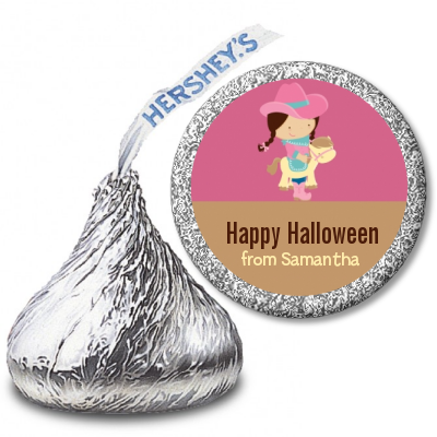 Dress Up Cowgirl Costume - Hershey Kiss Halloween Sticker Labels