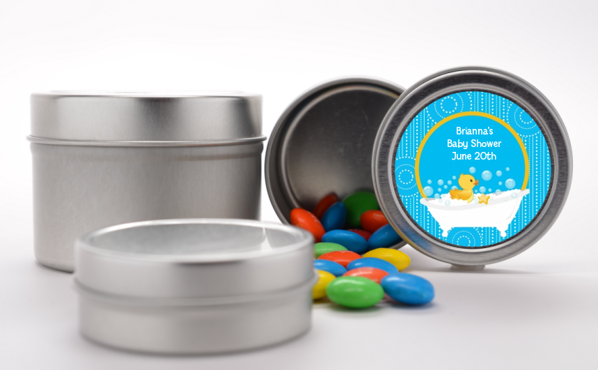 Duck - Custom Baby Shower Favor Tins Blue
