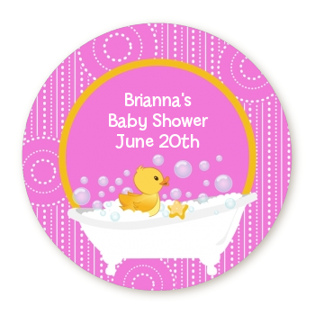 Duck - Round Personalized Baby Shower Sticker Labels Blue