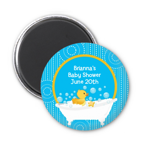 Duck - Personalized Baby Shower Magnet Favors Blue