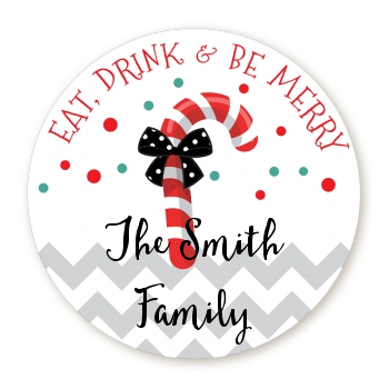 Eat, Drink & Be Merry - Round Personalized Christmas Sticker Labels