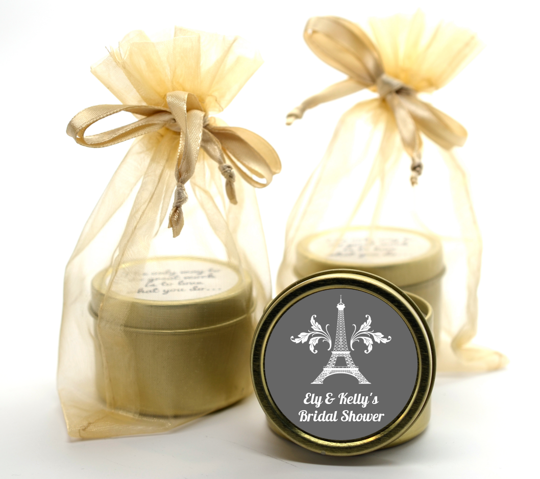 Eiffel Tower Gold Tin Candle Favors | Candles & Favors