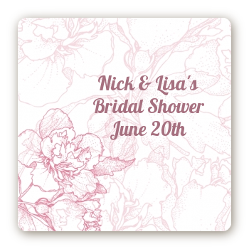 Elegant Flowers - Square Personalized Bridal Shower Sticker Labels