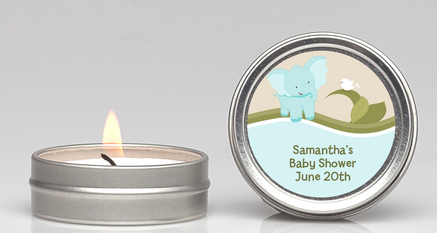 Elephant Baby Blue   Baby Shower Candle Favors