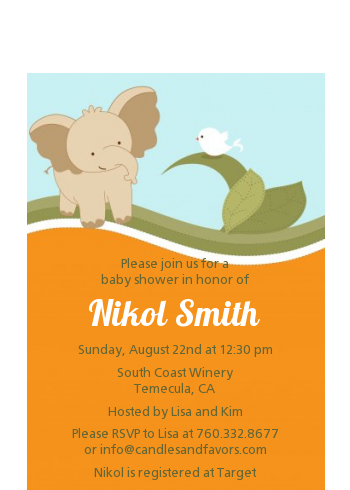 Elephant Baby Neutral - Baby Shower Petite Invitations