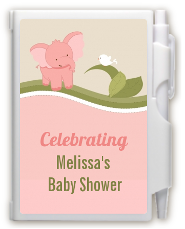 Elephant Baby Pink - Baby Shower Personalized Notebook Favor