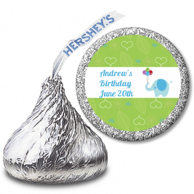 Elephant Blue - Hershey Kiss Birthday Party Sticker Labels