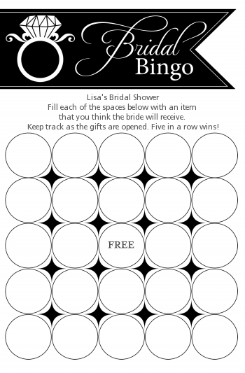 Engagement Ring Black - Bridal Shower Gift Bingo Game Card