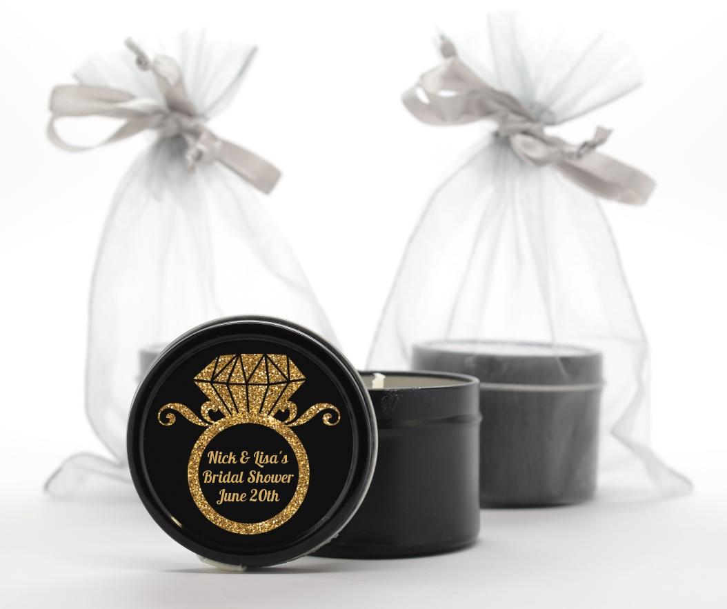 Custom Bridal Shower Black Candle Tin Favors