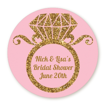 engagement ring pink gold glitter round personalized bridal shower sticker labels