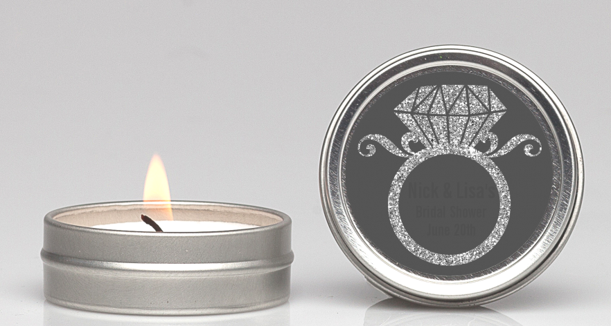 Engagement Ring Silver Glitter - Bridal Shower Candle Favors Option 1