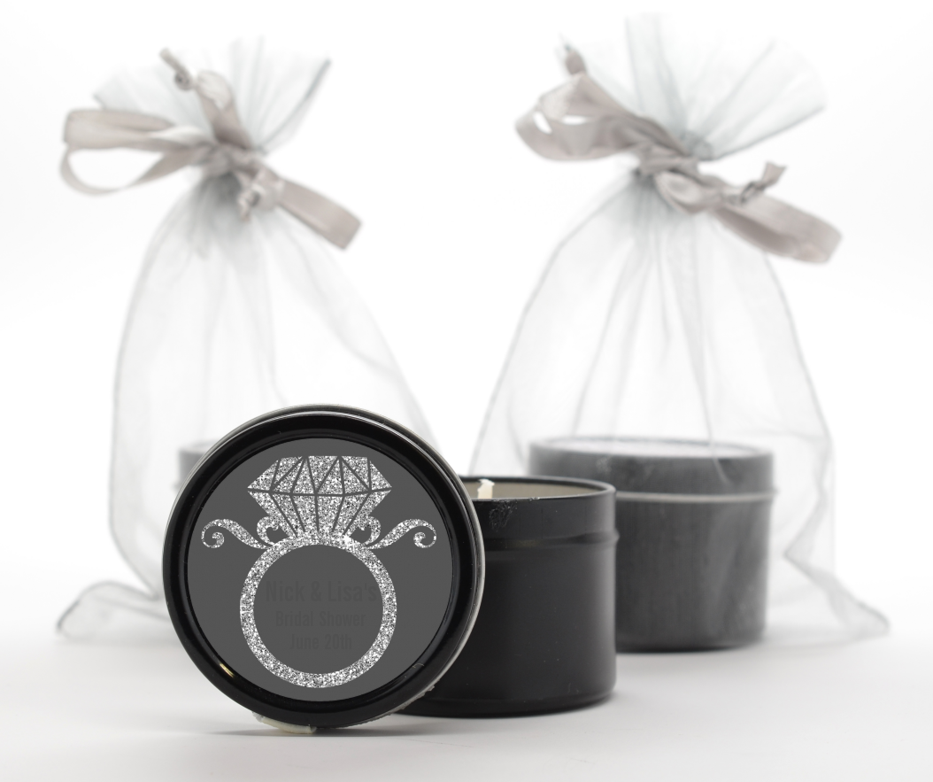 Engagement Ring Silver Glitter - Bridal Shower Black Candle Tin Favors Option 1