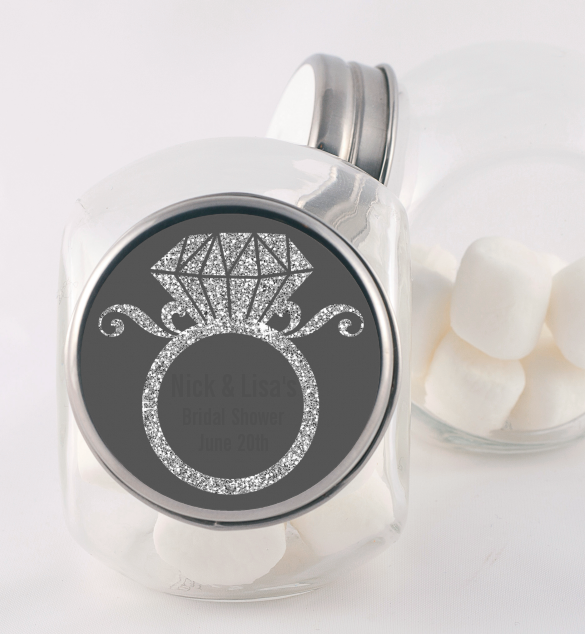 Engagement Ring Silver Glitter - Personalized Bridal Shower Candy Jar Option 1