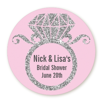 Engagement Ring Silver Glitter - Round Personalized Bridal Shower Sticker Labels Option 1